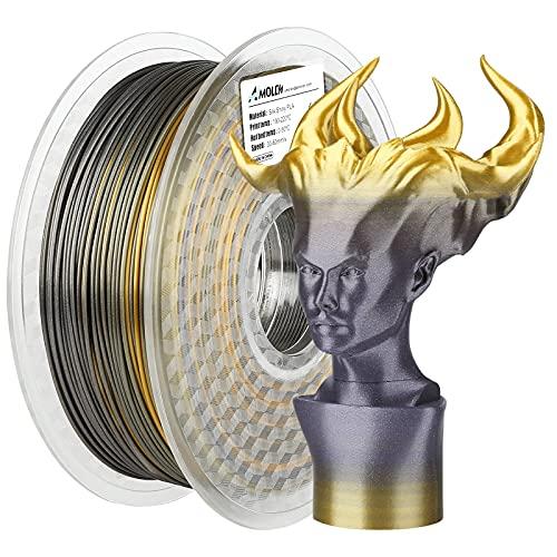 AMOLEN Filamento PLA, Seda Filamento PLA 1.75 1KG, Oro Seda Filamento, Brillante Impresora 3D Filamento, Material de Impresión 3D