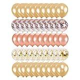 nbvmngjhjlkjlUK Globo de Oro Rosa, 50 Globos Decorativos de Confeti de Oro Rosa con Lentejuelas de látex, cumpleaños, Bodas, Festivales, Decoraciones para Fiestas (Oro Rosa)