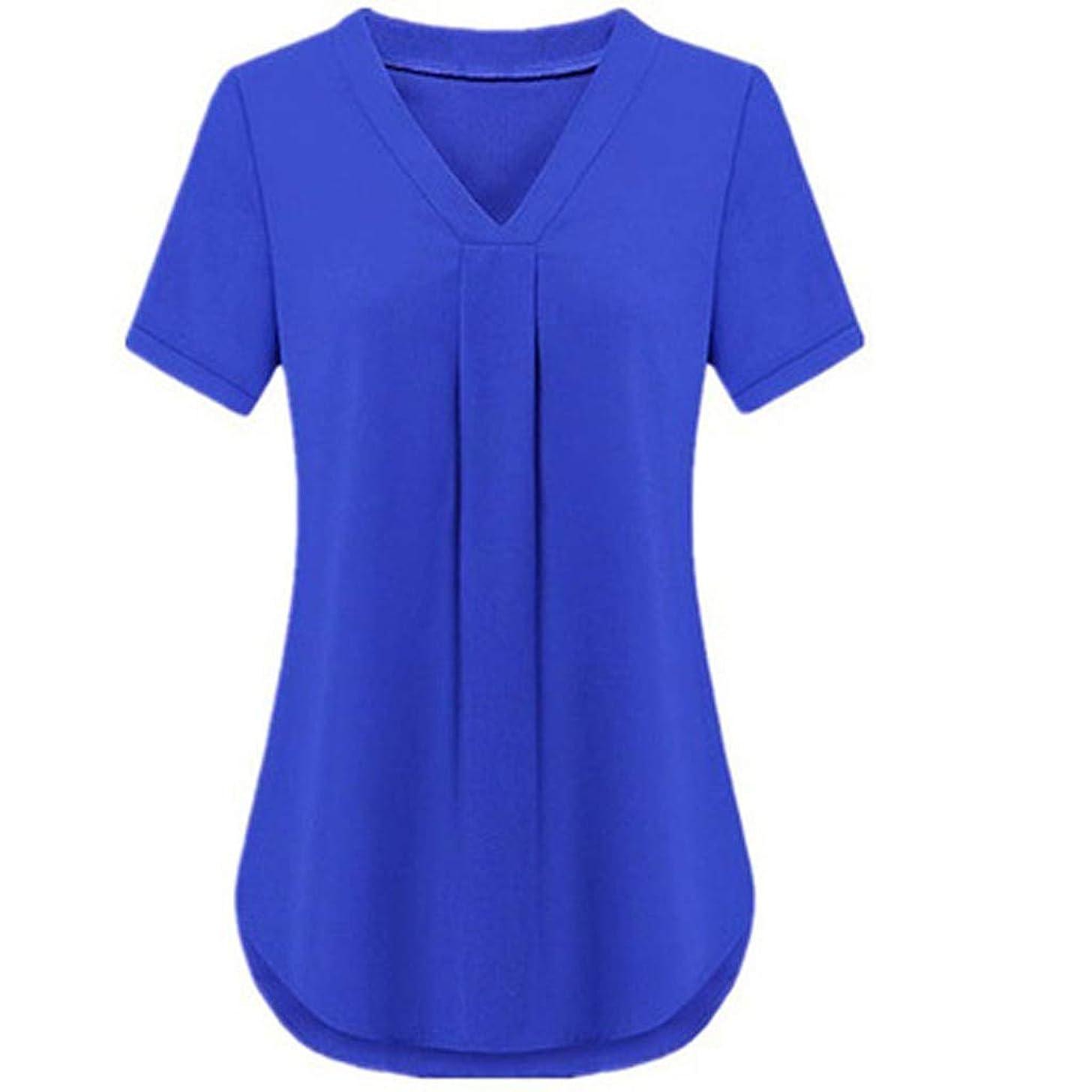 HimTak Women's Fashion Short-Sleeved v-Neck Casual Shirt Solid Color Loose Shirt Summer New Comfortable Wild T-Shirt