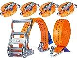4 x 2000 kg 6 m Cinghie di Tensione con Cricchetto e Gancio Cinghie di ancoraggio Cinghia di fissaggio - due parti 35mm