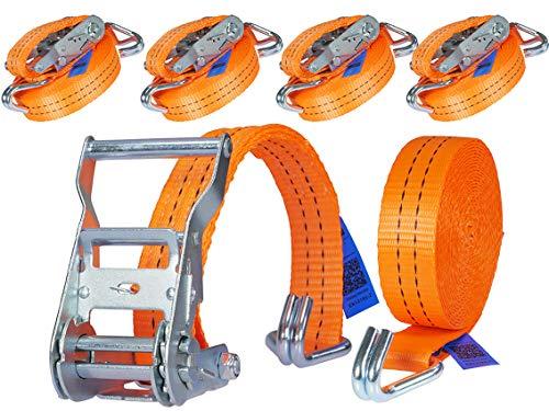 4 x 2000 kg 6 m Tensor de carraca Cinchas correa trinquete con gancho Eslingas con carraca Pulpos para baca 35 mm