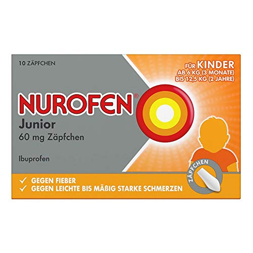 Nurofen Junior 60mg Zäpfchen – Mit Ibuprofen zur Linderung von Fieber und Schmerzen – Für Kinder und Säuglinge ab 3 Monaten – 1 x Blisterpackung mit 10 Stück