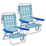 LOLAhome Pack de 2 sillas de Playa Convertibles en Cama Azules y Blancas de Aluminio y textileno