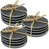com-four® Base in ardesia naturale 12x con piedini in gomma antiscivolo, tappetino rotond...