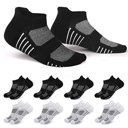 EKSHER Sneaker Socken Herren Damen Sportsocken Schwarz Weiß 8 Paar Laufsocken Kurze Atmungsaktive Baumwolle 39-42