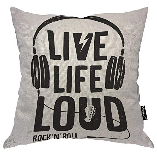 Moslion Music Throw Pillow Case Rock N Roll Festival Live Life Loud Headphone Guitar Pillow Cover Decorative Square Cushion Accent Cotton Linen 20x20 Inch for Sofa Chair