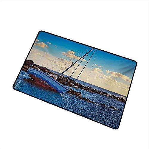 AoLismini Tapis de Porte Yacht dans la mer entourée de Ledge Rocks Incident côtier - Crash Scène de Collision Le Tapis de Porte est inodore et Durable Bleu Marron