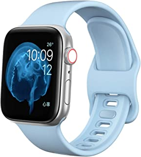 EloBeth Watch Band Compatible with Apple Watch Band 42mm 44mm Series 5 Silicone Sport iWatch Band 42mm 44mm Series 5 4 3 2 1 (42mm/44mm Blue)