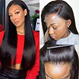 Luduna Brazilian Straight Lace Wigs Natural with Baby Hair Real Hair Wig 150% Density 9A 100% Unprocessed Pre Plucked Glueless Straight Human Hair Lace Front Wigs for Black Women (24',Natural Color)