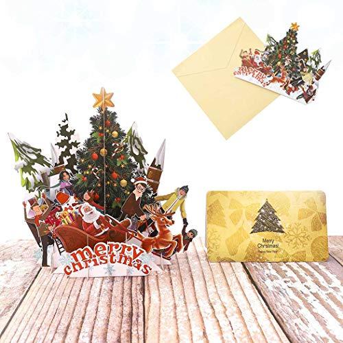 Sethexy 3D Cartoline natalizie Apparire Festa di Natale con Babbo Natale e Alce Biglietti d'auguri con buste Romantico Regali di buon Natale per la famiglia migliore amico fidanzato fidanzata