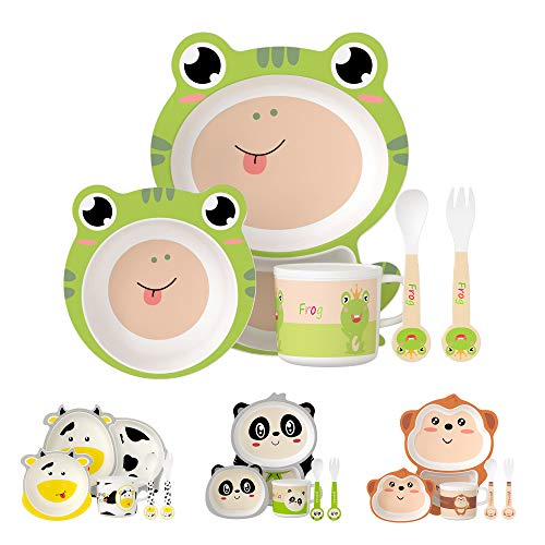 H HOMEWINS 5-Piece Kids Dinner Set Eco-Friendly Bamboo Tableware Includes Plate Bowl Cup Fork Spoon Dishwasher Safe Dinnerware for Baby Children (Frog)