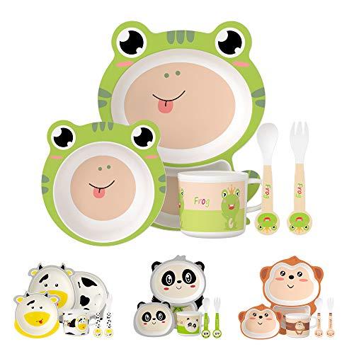 H HOMEWINS - Vajilla infantil de 5 piezas, linda forma de rana, vajilla infantil de bambú ecológica para bebés a partir de 6 meses - plato apto para lavavajillas, cuenco, taza, cuchara y tened