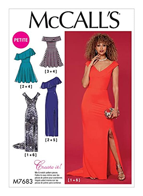 MCCALLS M7683 Misses'/Miss Petite Dresses with Shoulder and Skirt Variations SIZE 14-22 SEWING PATTERN