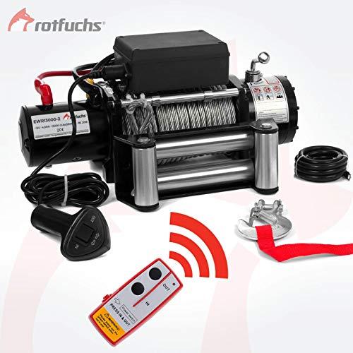 ROTFUCHS® Elektrische Seilwinde 13000lbs 5909kg 12V 6PS Offroad 4x4 Motorwinde Seilzug inkl. Funkfernbedienung Schwarz