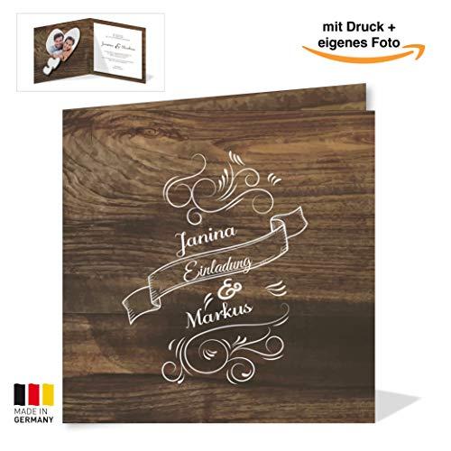 Gaudi Hochzeitskarte rustikal (10 Stück) – Einladungskarte mit Holz-Optik – Vintage Holz Einladung für deine Hochzeit quadratisch – Hochzeitseinladungskarte mit Druck und deinem Bild