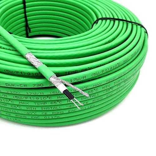 LINGZIA 110V 120V 220V 17W / m Cable calefactorautorregulable aprueba de agua para tubería interioranticongelante5 metros95V a 130V
