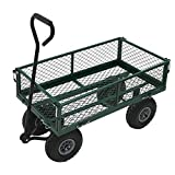 LLSS Hochleistungs-Gartenwagen aus Metall - Grüner Anhängerwagen Zugwagen Handwagen Gartentransportwagen für den Außenbereich