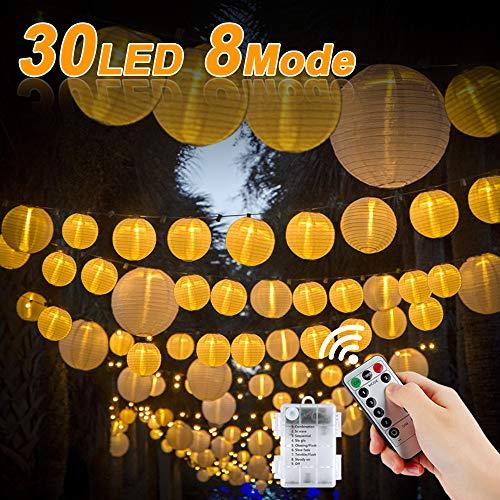 Vivibel - Guirnalda de luces LED con forma de farolillo, versión mejorada con mando a distancia y temporizador, 30 ledes, resistente al agua, funciona con pilas (blanco cálido)