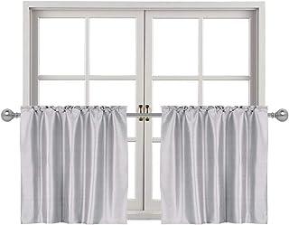 Home Queen Faux Silk Rod Pocket Tier Curtains for Small Window, Short Room Darkening..