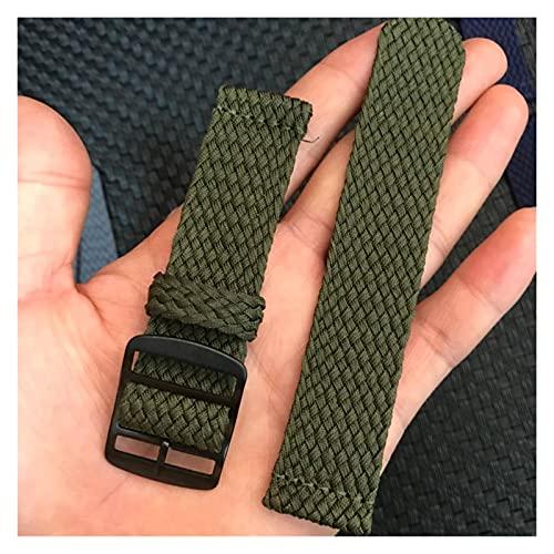 LINMAN Nylon Woven Woven Bando Colorido Reemplazo de la Correa de la Hebilla de relojera 20 22mm (Band Color : Green, tamaño : 22mm)