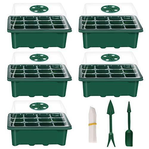 Siebwin 5PCS Vasetti per Piantine, 12 fori Vassoi per Semi di Avviamento Semenzaio Germinazione per piante regolabile con umidità con cupola e base Vassoi per coltivazione in serra per giardinaggio
