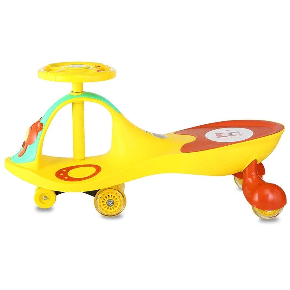 侮辱宝追う子供用ツイストカー 三輪車 スイング玩具車 セイフティウォーカー 音楽付 親子ゲーム 耐荷重100kg 1-3-6歳 バースデーギフト (Color : Yellow, Size : 27*78.5*41cm)