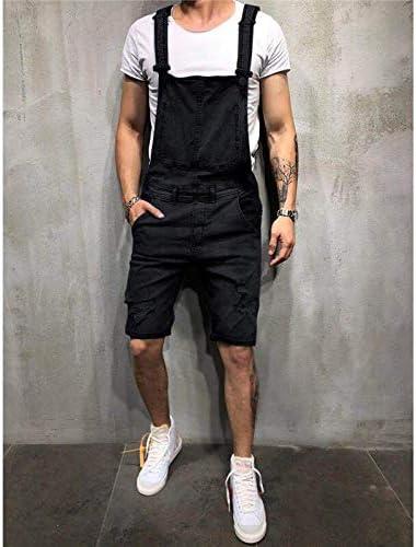 Mens Summer Denim Bib Overalls Street Ripped Short Jeans Jumpsuits Fashion Streetwear Shorts Suspender Pants