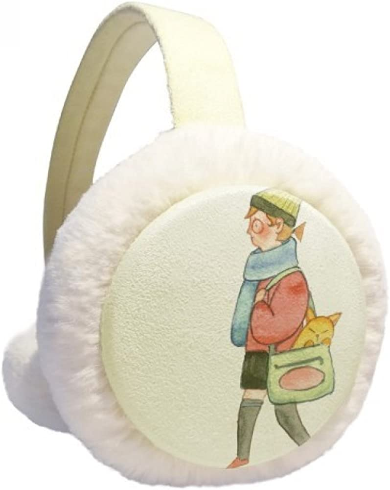 Miaoji Painting Cat Shopping Girl Winter Warmer Ear F Don't miss the campaign Cable Knit It is very popular