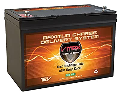 VMAX Solar Battery SLR100 Vmaxtanks AGM 100ah 12V Wind Power Backup Boat Lift ,Rally Pro Plus Generator Group 27 battery