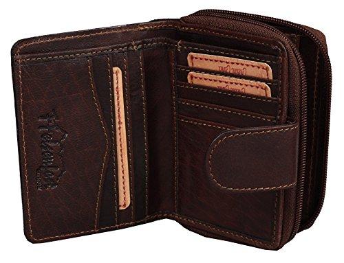 FFelsenfest Vintage Leder-Geldbörse-Damen | ECHT LEDER -pflanzlich gegerbt | 12x9x2,5cm | Portmonee mit Reißverchluss (espresso)
