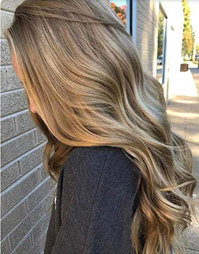 Sunny Human Hair Clip in Extensions Light Brown 22 inch Full Head Real Hair Clip on Hair Extensions Highlights Color Light Brown Mix Platinum Blonde 7pcs 120g (Brown Hair With Full Head Of Highlights)