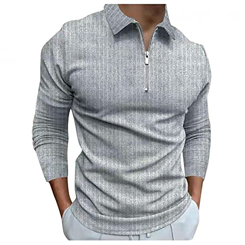 XUNFUN Long Sleeve Golf Polo Shirts for Men Slim Fit 1/4 Zip Basic Design Solid Casual Pullover Athletic Shirts Tops Blouse(Grey,3X-Large)