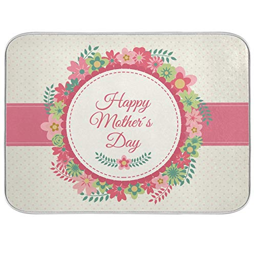 Microfiber Dish Drying Mat Extra Large Super Absorbent Double-Sided Design for Kitchen 18 x 24 Inch Mother's Day Garland Pink