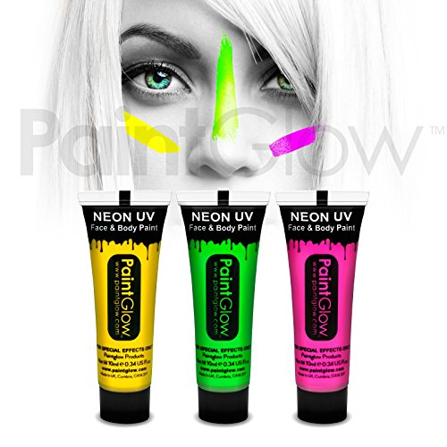 Paint Glow UV Neon Face and Body Paint 10 ml - Pack of 3