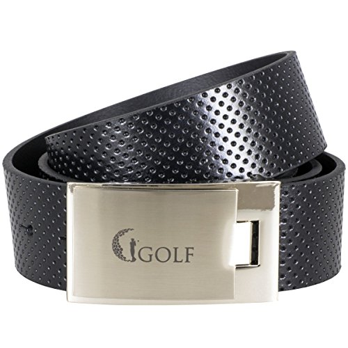 Lindenmann GOLF Mens leather belt/Mens belt, leather belt curved with plate buckle, black,...