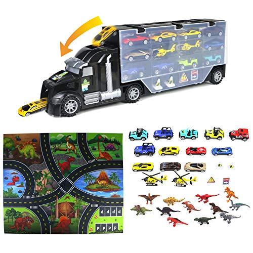 TONZE Dinosaurier Spielzeug LKW Autotransporter-Kinder Spielzeug Jungen Spielzeugauto mit Dinosaurier Figuren Cars Spielzeug Flugzeug Spielmatte Geschenk Junge ab 3 4 5 Jahre (32 Stück