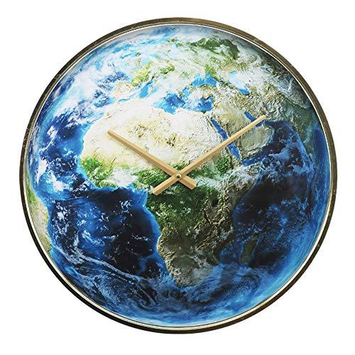 20inch Wanduhr-Wohnzimmeruhr, Runde Wanduhr Erde Welt Globus blau Planet aus für Küche Wohnzimmer Büro,a