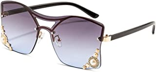 LUKEEXIN Women's Exquisite Frameless Sunglasses with Bead, Marine Lenses, UV Protection (Color : Violet)