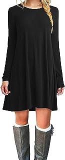 MOLERANI Women`s Casual Plain Simple Long Sleeve T-Shirt Loose Dress