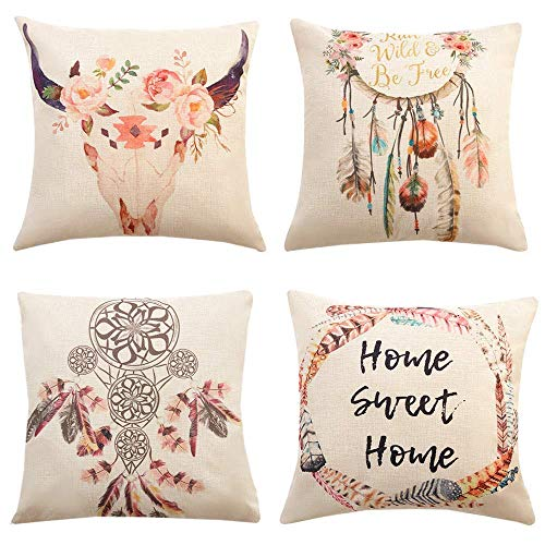 Gspirit 4 Pack Atrapasueños Bohemia Algodón Lino Throw Pillow Case Funda de Almohada para Cojín...