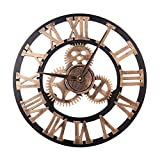HZDHCLH Large Wall Clock Decorative Gear Wall Clock, Vintage Roman Numerals Wall Clock Non Ticking Metal Skeleton Clock Living Room, Hotel Office Home Decor Gift(Gold Roman, 12')