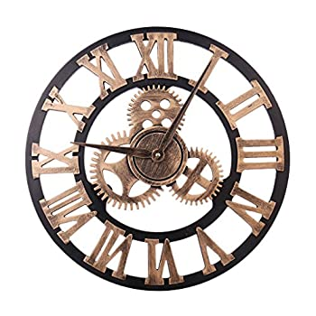 HZDHCLH 12 Inch Wall Clock Decorative Gear Wall Clock Vintage Roman Numerals Wall Clock Non Ticking Metal Skeleton Clock Living Room Hotel Office Home Decor Gift Gold Roman