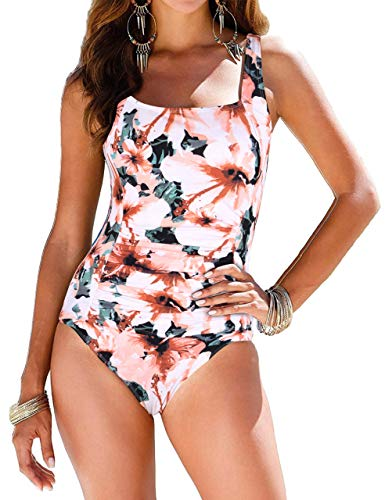 Firpearl Bathing Suits for Women Ruched Tummy Control One Piece Swimsuit US6 Orange&White Floral