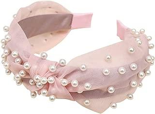 Fashion Bow Knot Gauze Hairband Pearl Beading Women Hair Head Hoop Simple Sweet Girls Headband Headwear