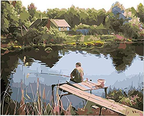 GTZXHNM Pesca en el río Junto al Lago Pintura por Números para Adultos y niños Pintar DIY al óleo de Bricolajecon Personalizado Kit con Pinceles Principiantes Lienzo Decoraciones sin Marco 40X50CM