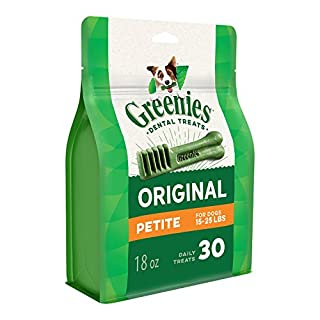 GREENIES Original Petite Natural Dog Dental Care Chews Oral Health Dog Treats, 18 oz. Pack (30 Treats) (B000KEVF3M) | Amazon price tracker / tracking, Amazon price history charts, Amazon price watches, Amazon price drop alerts