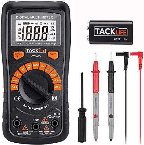 Multimeter, Tacklife DM02A Digital Multi Tester Auto-ranging Electrical Tester Portable Voltmeter Ammeter Ohmmeter with NCV, Backlit LCD, AC/DC Voltage Transistor Audible Continuity Measuring Meter