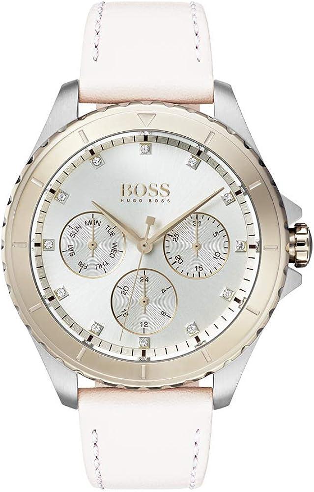 Hugo boss, orologio cronografo multi-quadrante al quarzo per donna, con cinturino in pelle 1502448