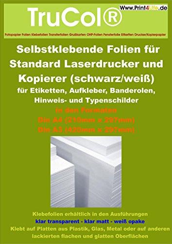 10 Blatt DIN A3 Selbstklebende MATT transluzente Premium Folien für schwarz-weiß Laserdrucker und Kopierer (Standard Laserdrucker + Kopierer) Dicke : 0,08mm