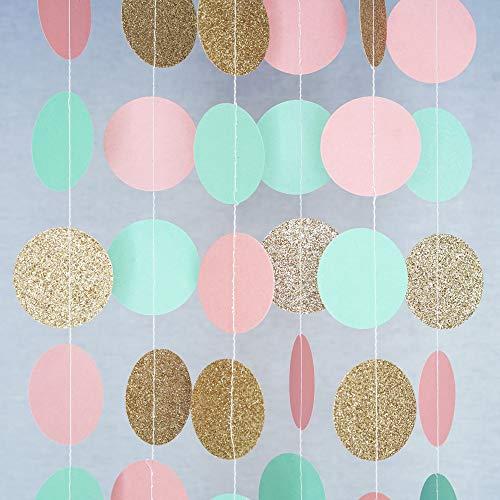 Chloe Elizabeth Paper Dot Circle Garlands for Parties (3 Meters) Pink, Mint, Gold Glitter